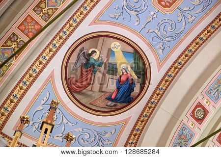 STITAR, CROATIA - AUGUST 27: Annunciation of Mary, fresco in the church of Saint Matthew in Stitar, Croatia on August 27, 2015