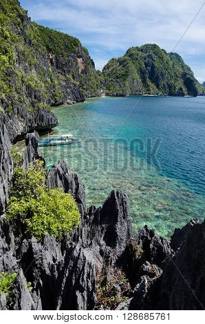 El Nido, Philippines - Tapiutan Strait as seen from Matinloc island