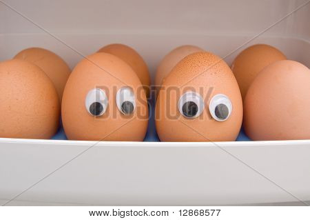 eggs with eyes on a chute