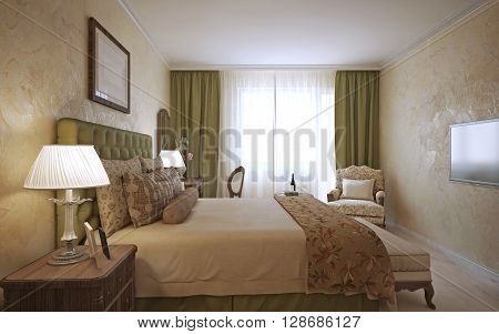 Master bedroom english design. Neatly Dressed bed with pillows and blankets. Bedside table made of dark wood and decorative plaster with light laminate. 3D render