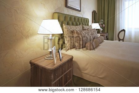Dressed bed with bedside table in classic bedroom with decorative plaster. 3D render