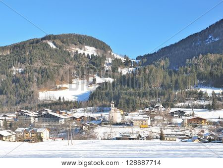 Wintertime in Village of Flachau in Salzburger Land,Alps,Austria,