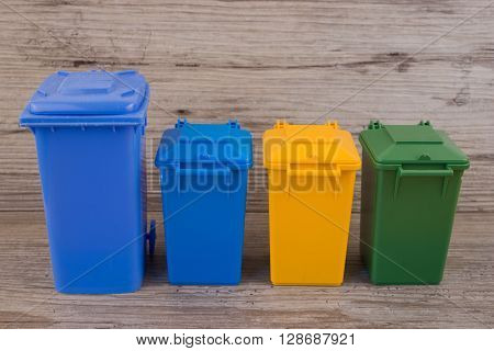 Set of recycle garbage bins, waste separation concept