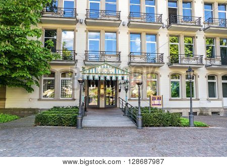 BADEN-BADEN, GERMANY  - MAY 4: Front entrance of the Medici luxury hotel in the historic center of Baden-Baden. Germany, Baden-Baden, May 4, 2016