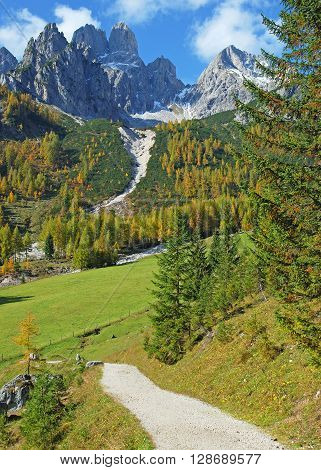 Hiking Trail near Filzmoos with View to Bischofsmuetze Mountain,Salzburger Land,Alps,Austria