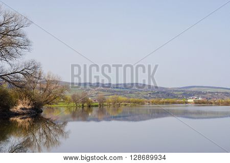 Picture showing one of the Mures river's bank in Transylvania.