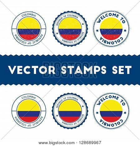 Colombian Flag Rubber Stamps Set. National Flags Grunge Stamps. Country Round Badges Collection.