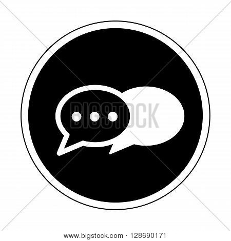 Instant messenger icon black and white isolated on white background