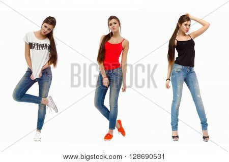 Three photos of a young casual fashion beautiful girl standing in studio in a T-shirt and jeans. Isolated on white background.