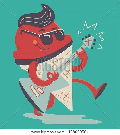Vector illustration of a cartoon rockabilly ice cream cone playing an electric guitar.