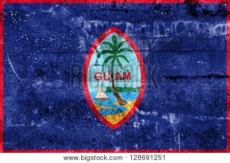Flag Of Guam, Painted On Dirty Wall. Vintage And Old Look.