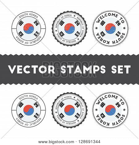 South Korean Flag Rubber Stamps Set. National Flags Grunge Stamps. Country Round Badges Collection.
