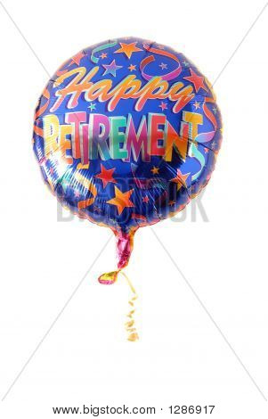 "A Festive Helium Balloon With ""Happy Retirement"" Written On It"