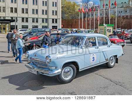 Moscow Russia - April 24 2016: Retro cars rally named after «Ingosstrakh Exclusive Classic Day». GAZ 21 (Volga).