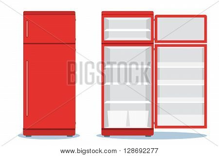 Refrigerator Opened With Food. Fridge Open And Closed With Foods. Refrigerator Red