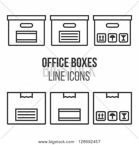Office concept - collection of boxes and package in line style design. Office box icons. Line style vector illustration. Set of simple box and package icons