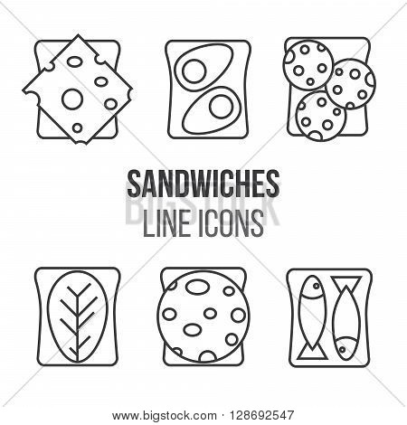 Sandwich line style icons set. Vector illustration. Meat and sandwiches.Different kinds of sandwiches. Breakfast traditional menu.