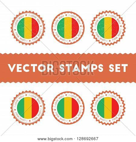 I Love Mali Vector Stamps Set. Retro Patriotic Country Flag Badges. National Flags Vintage Round Sig
