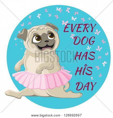 Funny pug dancing in pink ballet tutu