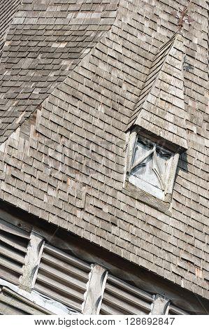 derelict wooden slate belfry tower abstract detail
