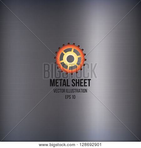 Metal sheet with logo. Hot stamp under steel. Vector illustration. Industrial or technology concept. Realistic steel texture. Scratched grunge metal plating. Industrial abstract background. Metal background or texture of light brushed steel plate.