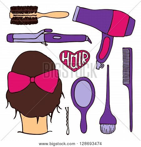 Hairdressing tools set with pattern swatch. Hand-drawn cartoon collection of hair styling stuff -  comb, hairbrush, hairpin, mirror, dryer, mirror, head. Doodle drawing. Vector illustration