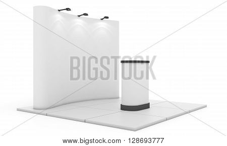 Trade exhibition stand, Exhibition Stand round. Blank trade show booth mock up. 3D rendering