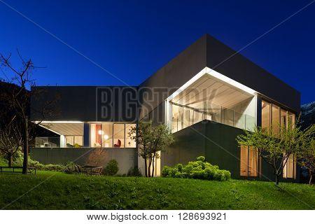 Architecture modern design, concrete house, night scene