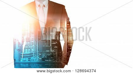 Businessman in suit and New York city view on white background. Double exposure