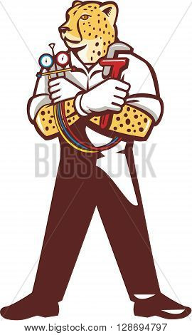 Illustration of a cheetah heating specialist refrigeration and air conditioning mechanic standing holding a pressure temperature gauge looking to the side viewed from front set on isolated white background done in cartoon style.