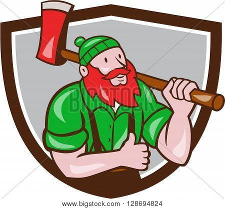 Illustration of a Paul Bunyan an American lumberjack sawyer forest carrying axe on shoulder thumbs up set inside shield crest on isolated background done in cartoon style.