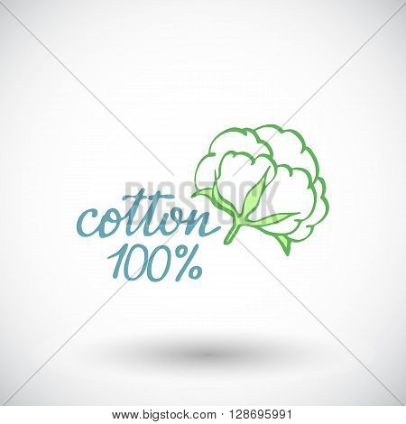 Cotton flower sketch. Hand-drawn organic cotton icon with sigh 100 per cent cotton. Doodle drawing. Vector illustration