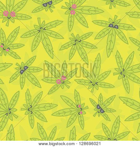 Cartoon kawaii weed leaf seamless vector pattern