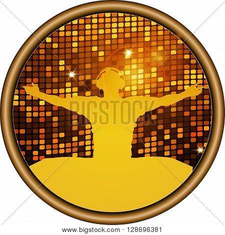Golden DJ Silhouette on Disco Border with Sparkling Gold Tiles