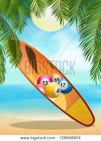Surfboard with Bingo Lotto Balls Design on Tropical Beach with Palm Tree Background