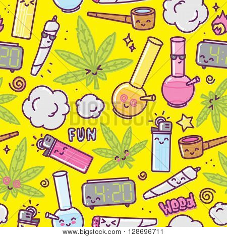 Weed kawaii cartoon seamless vector pattern yellow