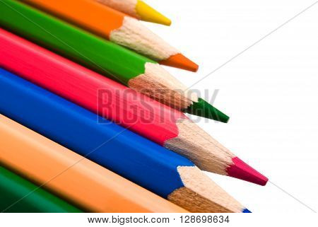 set of colored pencils close-up isolated on white background