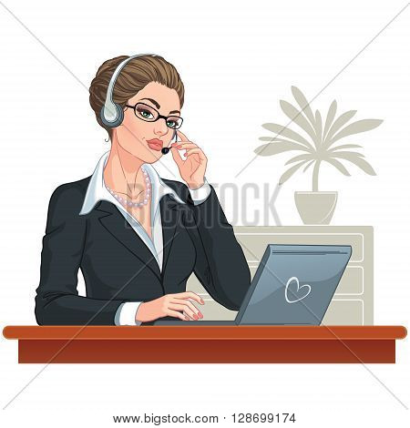 Vector illustration. Attractive young woman. Call center operator with laptop and headsets at workplace. Isolated on white background