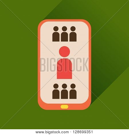 Flat icon with long shadow  mobile phone