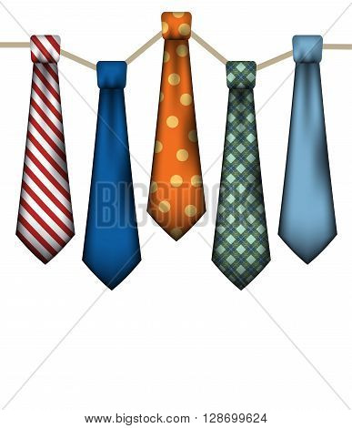 A set of men's neck ties on a white background.