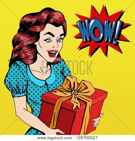 Woman with Gift. Excited Woman with Present Pop Art Vector illustration