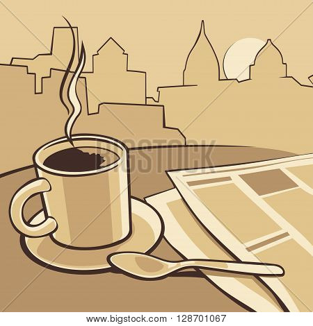 Coffee cup and news paper on table. Vector vintage monochrome illustration. Hand drawn sketch for poster web banner.