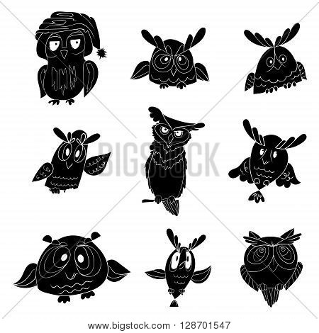 Set of nine funny owls, black vector owl isolated on white background. Use for signs or symbols for your site, corporation etc
