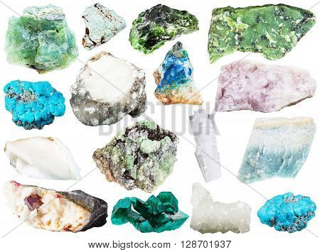 Set Of Various Natural Mineral Gems And Crystals