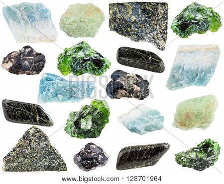 Set Of Various Diopside Minerals And Gemstones