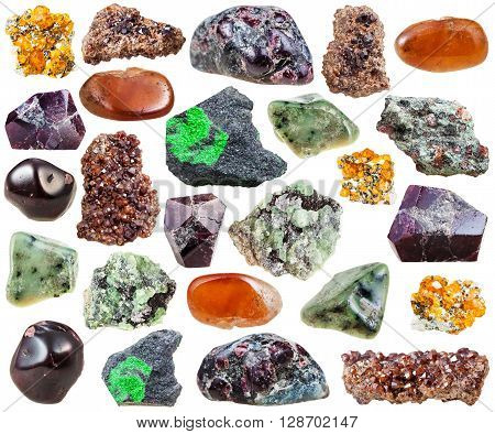 Set Of Various Garnets Natural Stones And Crystals