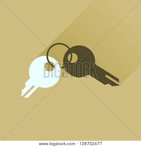 Flat icon with long  shadow bunch of keys