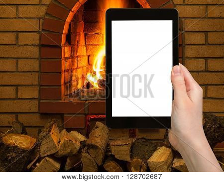 Tourist Photographs Fireplace On Tablet Pc