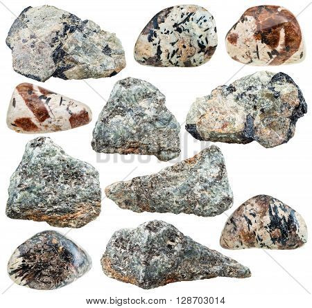set of various nepheline (nephelite) natural mineral stones and rocks isolated on white background