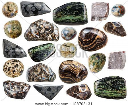 Set Of Various Natural Rhyolite Mineral Stones